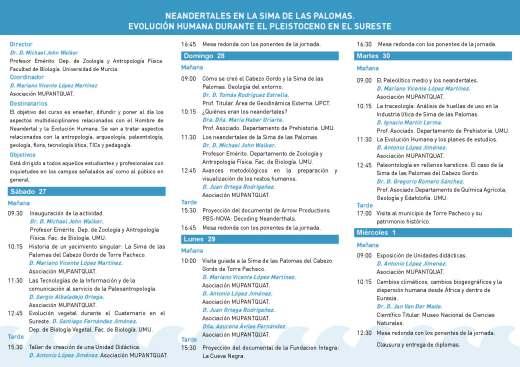 UIM-MUPANTQUAT_Programa del Curso Neandertalesen la Sima de las Palomas